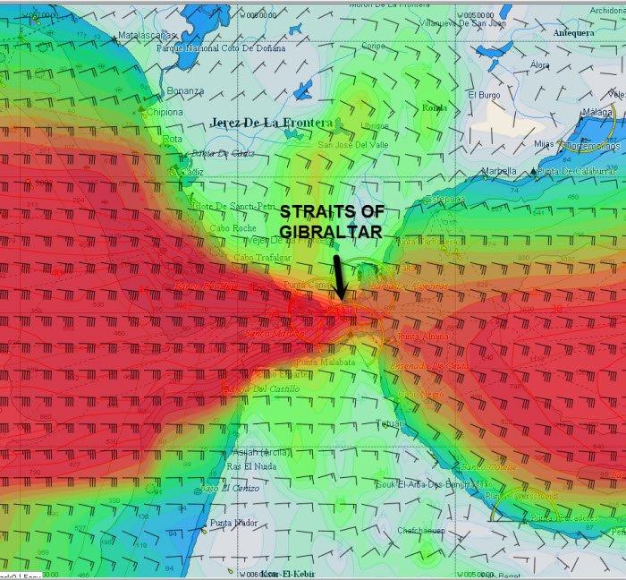 Gibraltar Strait High Res Wind